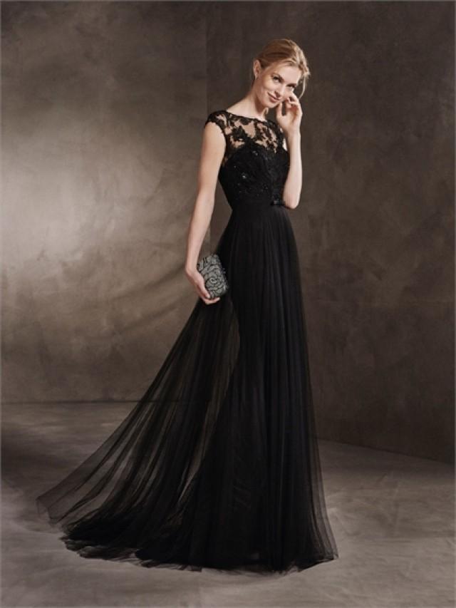 wedding photo - A-line Scoop Neckline Illusion Lace Appliqures with Belt Black Prom Dress PD3355