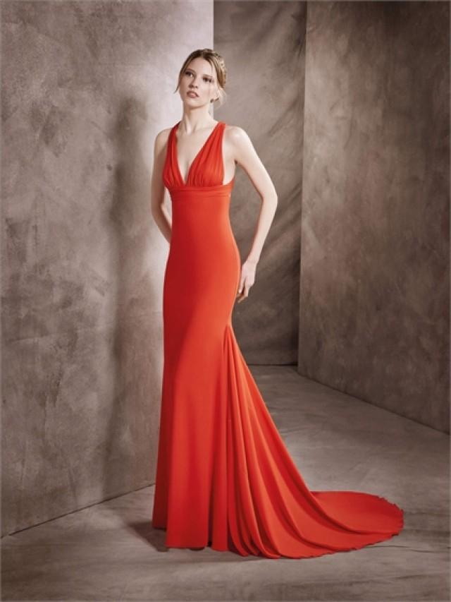 wedding photo - Sexy Deep Veck with Straps Floor Length Sweep Train Chiffon Prom Dress PD3347
