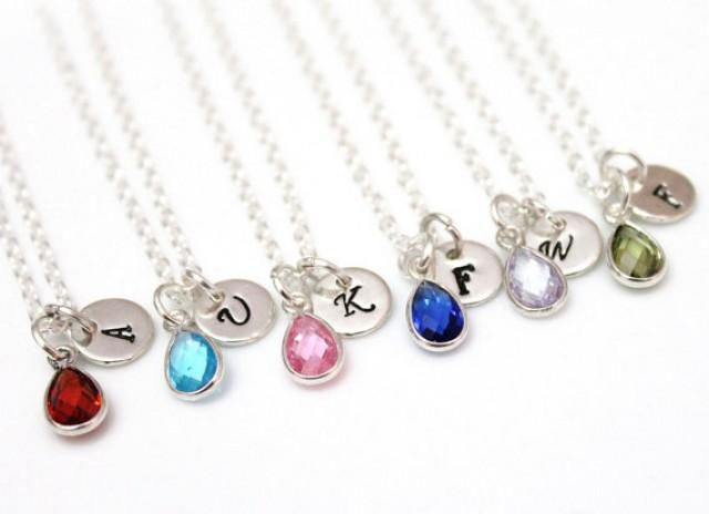 wedding photo - Necklace Personalized Birthstone Necklace, August- September birthstone Sterling Silver, Ruby Birthstone, initial jewelry, bridesmaid gift