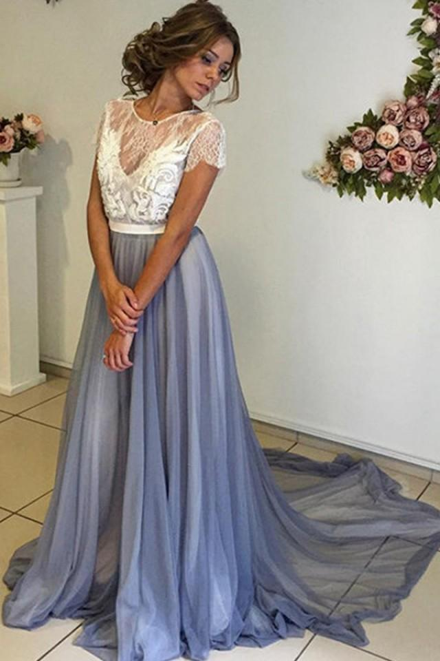 wedding photo - Trendy Scoop Neckline Cap Sleeves Long Blue Chiffon Prom Dress with Lace Backless