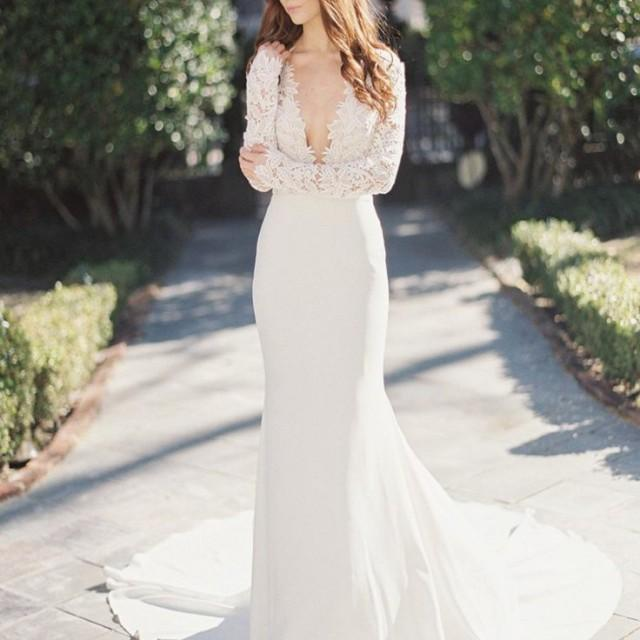wedding photo - Sexy Deep V-Neck Long Sleeve Lace Top Mermaid Wedding Party Dresses, WD0038