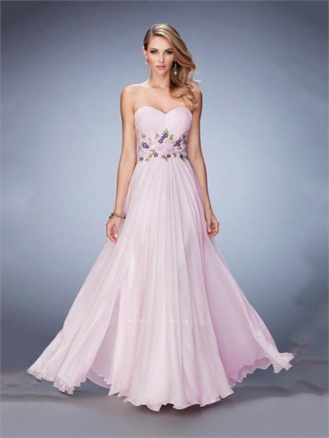 wedding photo - A-line Sweetheart Gathered Bust Line Lace Belt Chiffon Prom Dress PD3320