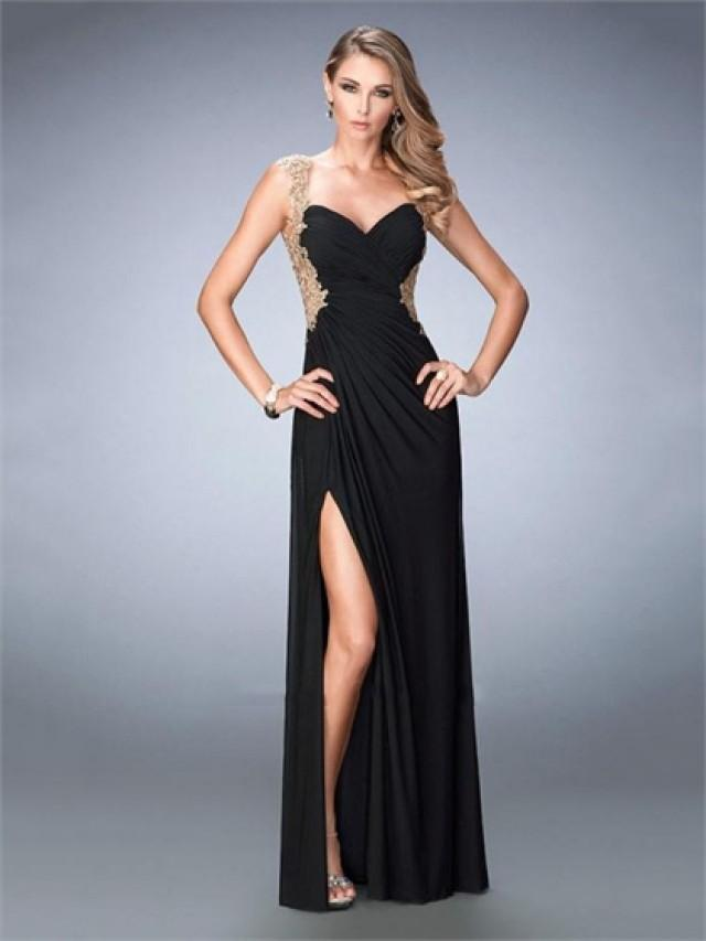 wedding photo - Elegant Sweetheart with Gold Embroidery Sides Straps and Back Prom Dress PD3310
