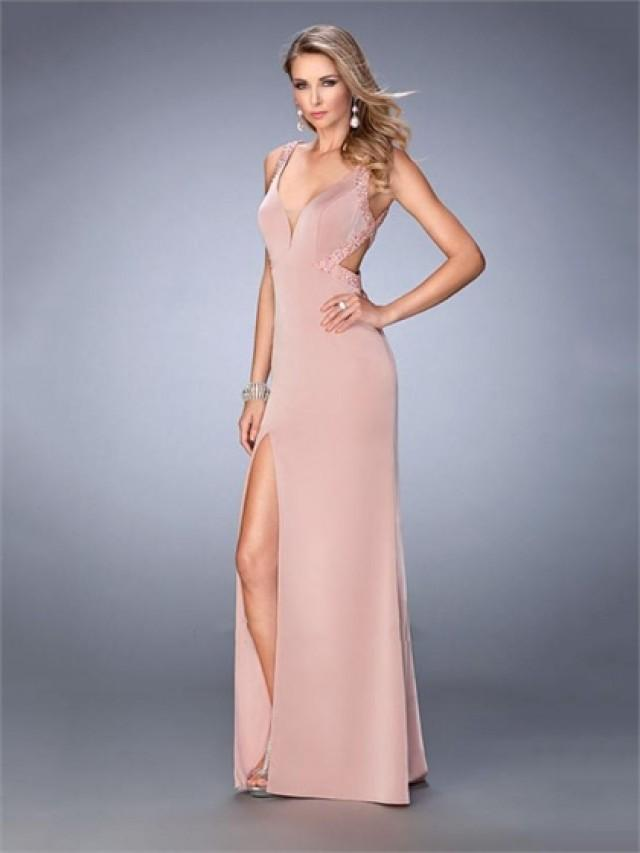 wedding photo - Gorgeous with Plunging Neckline Side Slit Beaded Straps Chiffon Prom Dress PD3316