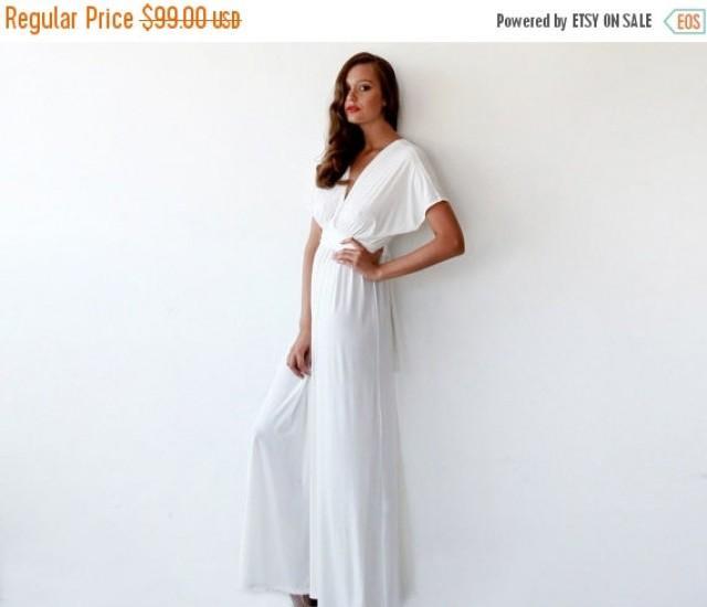CYBER MONDAY Bat Wings Sleeves Ivory Dress Curvy Figure Wedding Minimal Maxi 1002 2618460