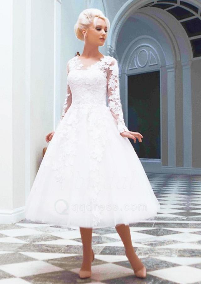 Full sleeves v neck appliqued button back tea length for V neck tea length wedding dress