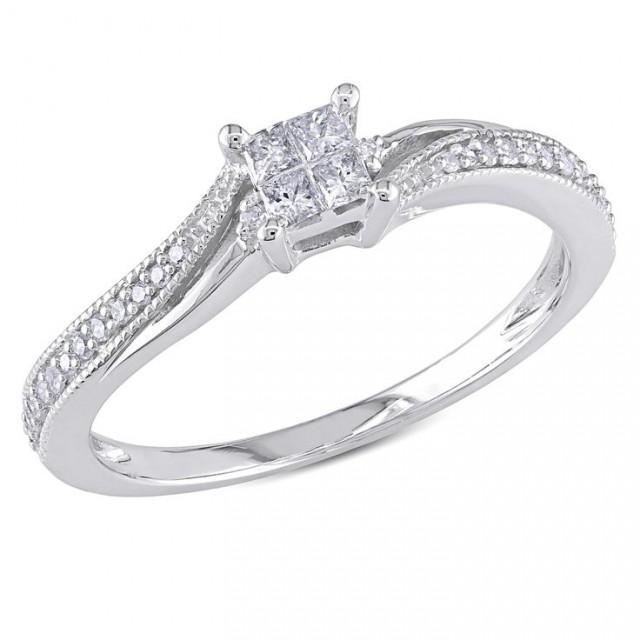 wedding photo - Miadora 10k Gold 1/5ct TDW Diamond Ring
