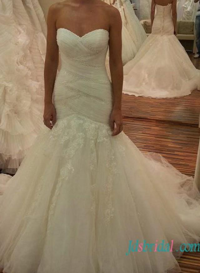 wedding photo - Sexy sweetheart neck mermaid tulle fashionable wedding dress