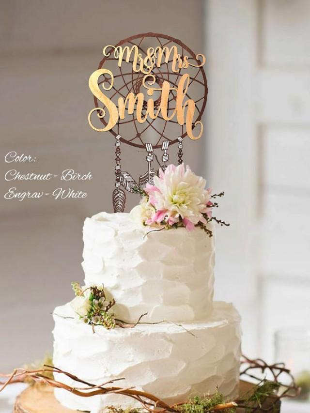 wedding photo - Boho Cake Topper. Boho wedding cake topper. Mr and Mrs Custom Surname Cake Topper. Personalized Surname Boho Cake Topper. 3D Boho Topper.