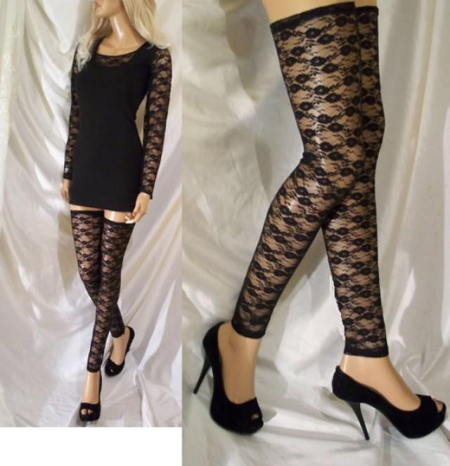 wedding photo - Black Lace Leg Warmers, Black Lace Thigh Highs, Black Hosiery, Black Lace Leg Accessory, Black Lace Leggings, Black Stockings, Lace Tights