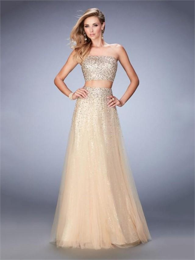 wedding photo - A-line Strapless Beaded Two Piece Tulle Prom Dress PD3284