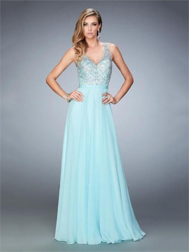 wedding photo - Graceful Chiffon Scalloped Neckline Open Back Beaded Prom Dress PD3283