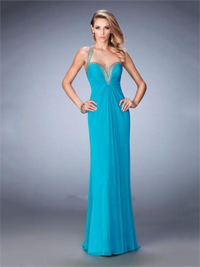 wedding photo - Sheath with Plunging Neckline Open Back Beaded Chiffon Prom Dress PD3282