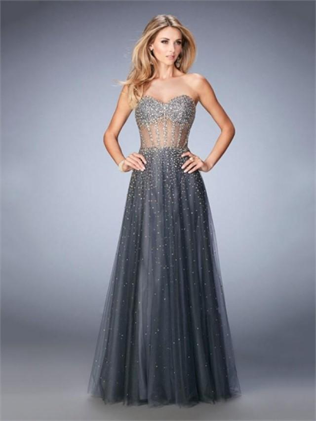 wedding photo - Stunning Tulle A-line Corset Like Bodice Sweetheart Beaded Prom Dress PD3281