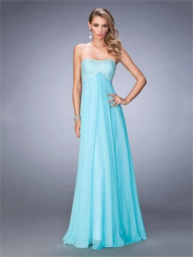 wedding photo - Sweet Scoop Neckline Empire Beaded Open Back Chiffon Prom Dress PD3280