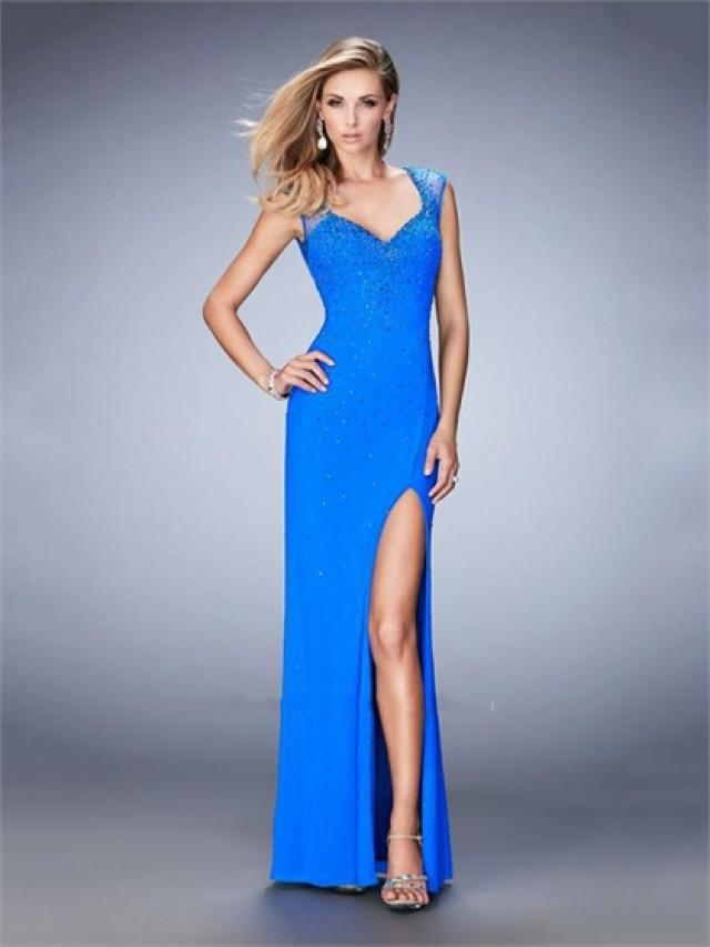 wedding photo - Sheath V-neck Sheer Straps and Back Beaded Chiffon Prom Dress PD3277
