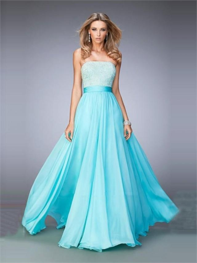 wedding photo - A-line Strapless Beaded Bodice Chiffon Prom Dress PD3271