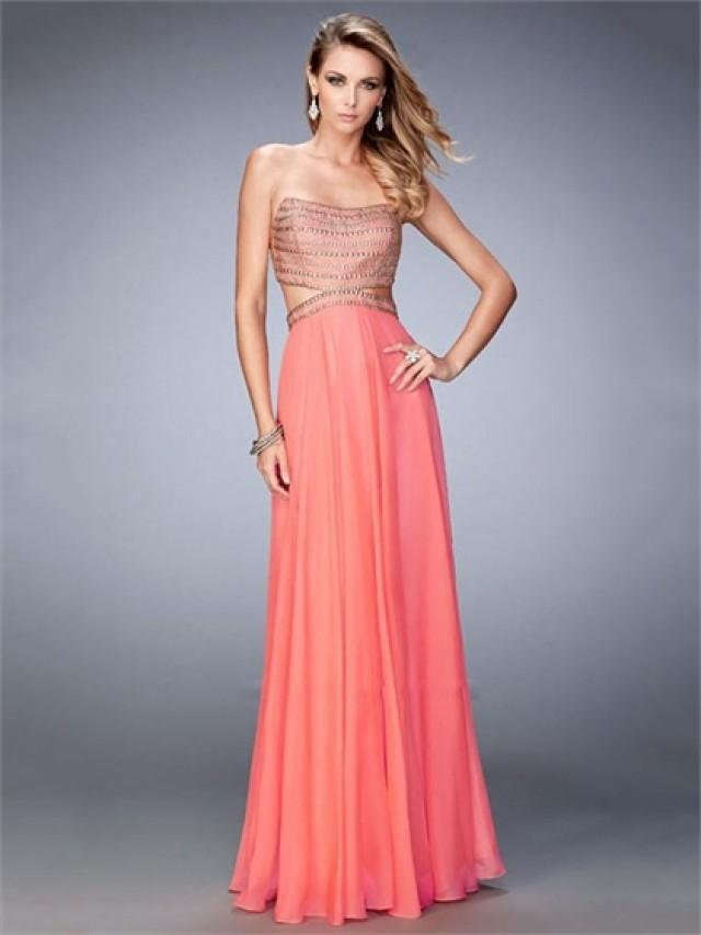 wedding photo - A-line Strapless Beaded Side Cutouts Open Back Chiffon Prom Dress PD3269