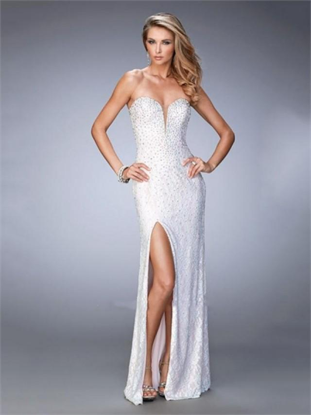 wedding photo - Plunging Sweetheart Neckline and Side Slit Beaded Prom Dress PD3274