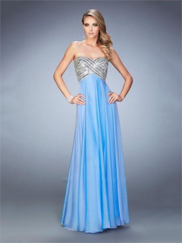 wedding photo - A-line Sweetheart Neckline Beaded Bodice Open Back Chiffon Prom Dress PD3273