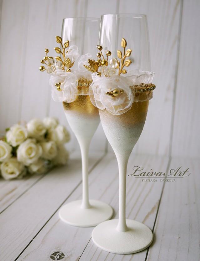 wedding photo - Wedding Champagne Flutes Wedding Champagne Wedding Toasting Flutes Gold and White Wedding