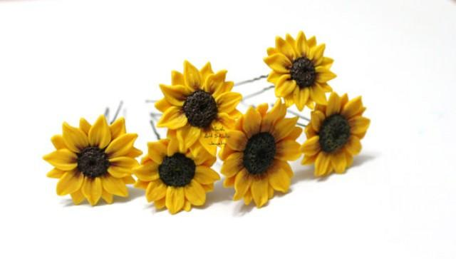 wedding photo - Sunflower Hairpin Set of 6, Big Sunflower Hairpin, Sunflower Hair Clip, Summer Hair Accessories, Yellow Flower Hair pin, Wedding Hair Flower