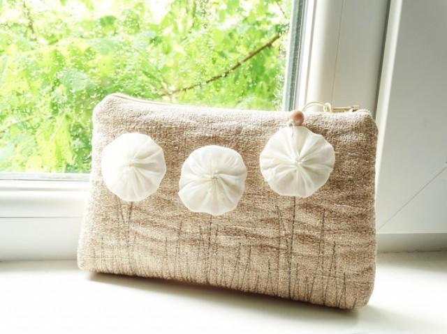 wedding photo -    Bag, Clutch with Flowers for Girl,  gift for Little Flower Girl, Peach Coin Purse Gift Girl