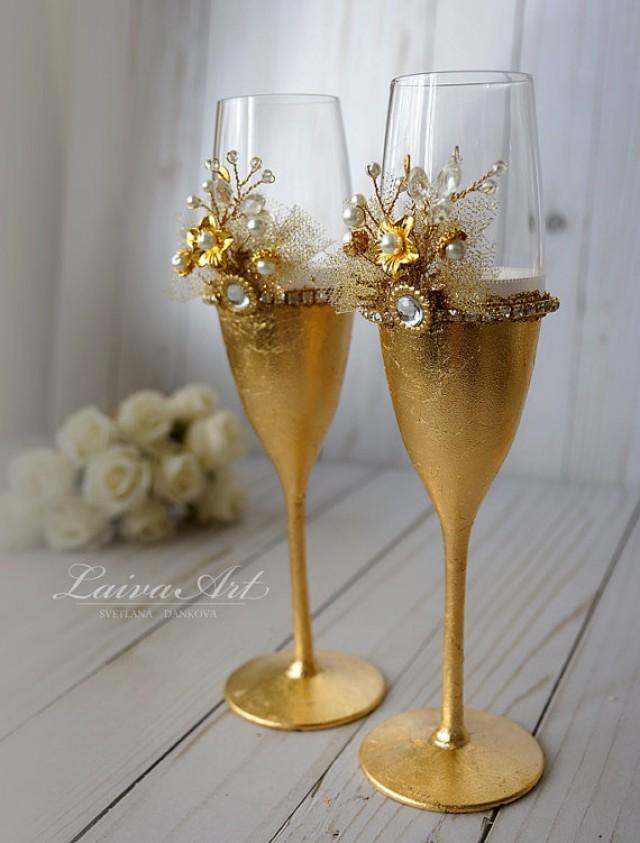 wedding photo - Gold Wedding Champagne Flutes Wedding Champagne Glasses Toasting Flutes Gold and White Wedding