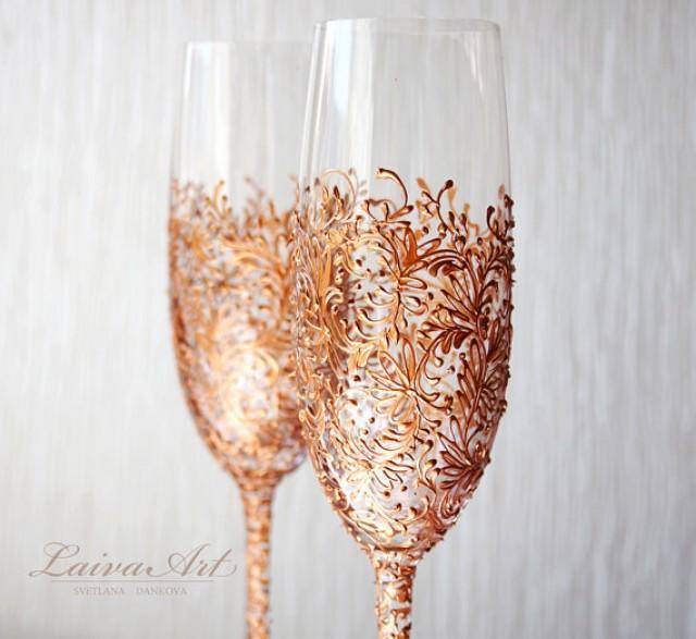 wedding photo - Rose Gold Wedding Champagne Flutes Wedding Champagne Glasses Rose Gold Toasting Flutes Gold Wedding Set of 2