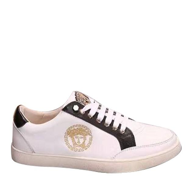 wedding photo - Versace Leather Lace Up Low-Top Sneakers