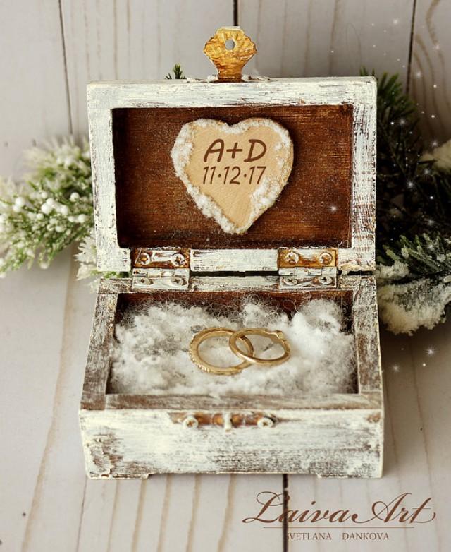 wedding photo - Winter Wedding Rustic Ring Bearer Box Ring Pillow Box Winter Wedding