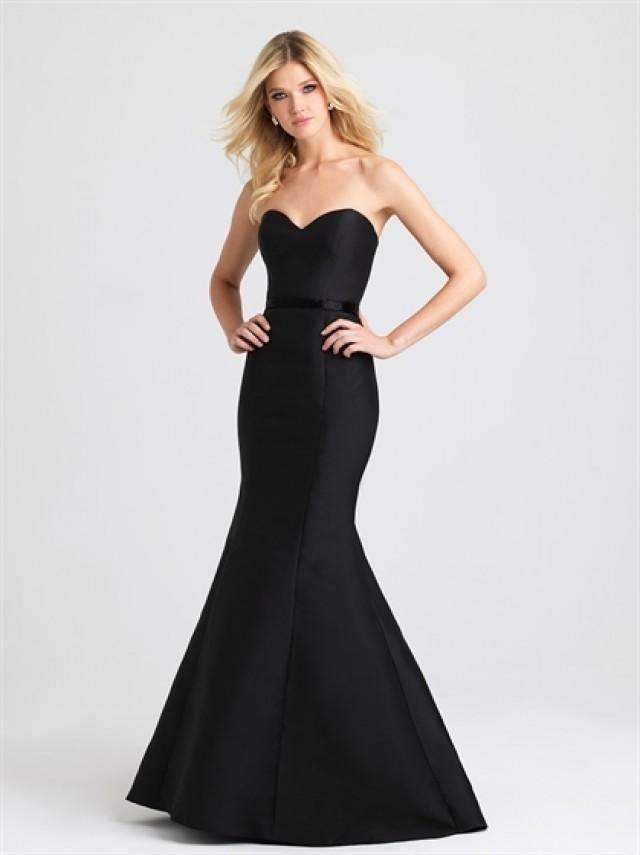 wedding photo - Strapless Sweetheart Mermaid Black Satin Prom Dress PD3190