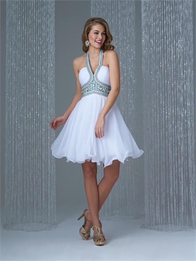 wedding photo - Short A-line Halter Beaded Chiffon Prom Dress PD3196