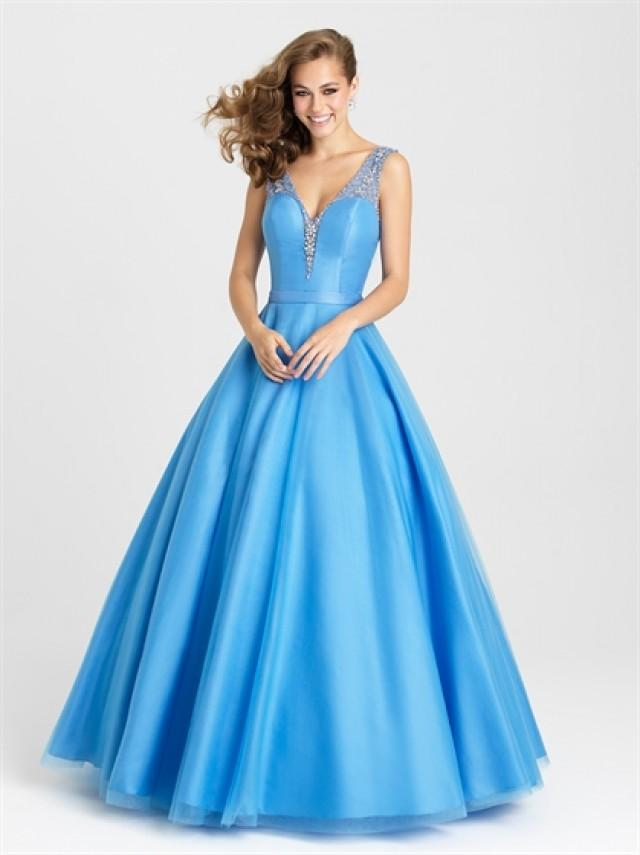 wedding photo - Ball Gown With Beaded Tank Staps and Neckline Tulle Prom Dress PD3195