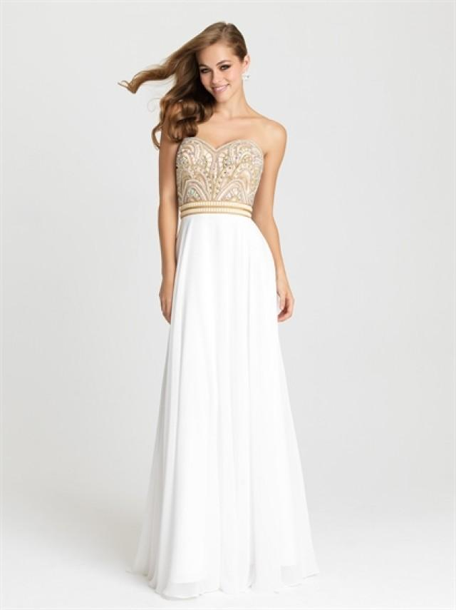 wedding photo - Strapless A-line Beading Bodice Chiffon Prom Dress PD3199