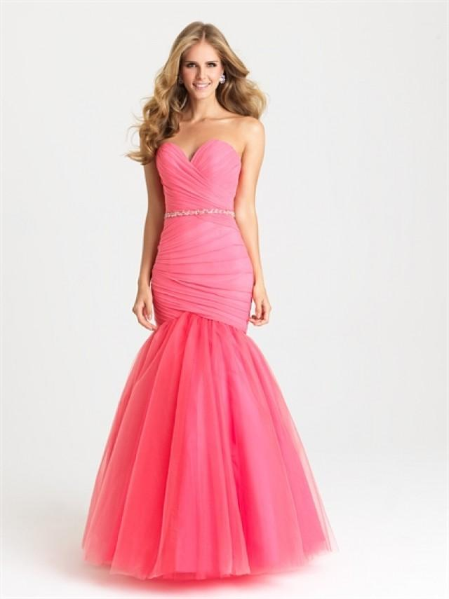 wedding photo - Chic Sweetheart Ruched Bodice with Jeweled Belt Tulle Prom Dress PD3204