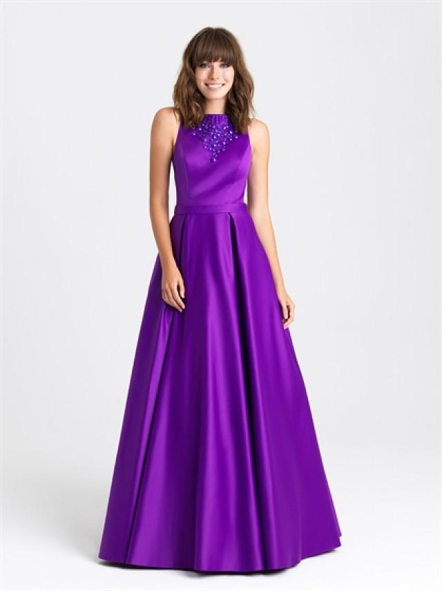 wedding photo - Ball Gown Bateau Neckline Beaded with Belt Satin Prom Dress PD3208