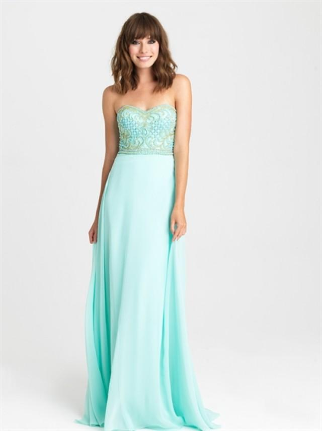 wedding photo - A-line Strapless Beaded Bodice Sweep Train Chiffon Prom Dress PD3205