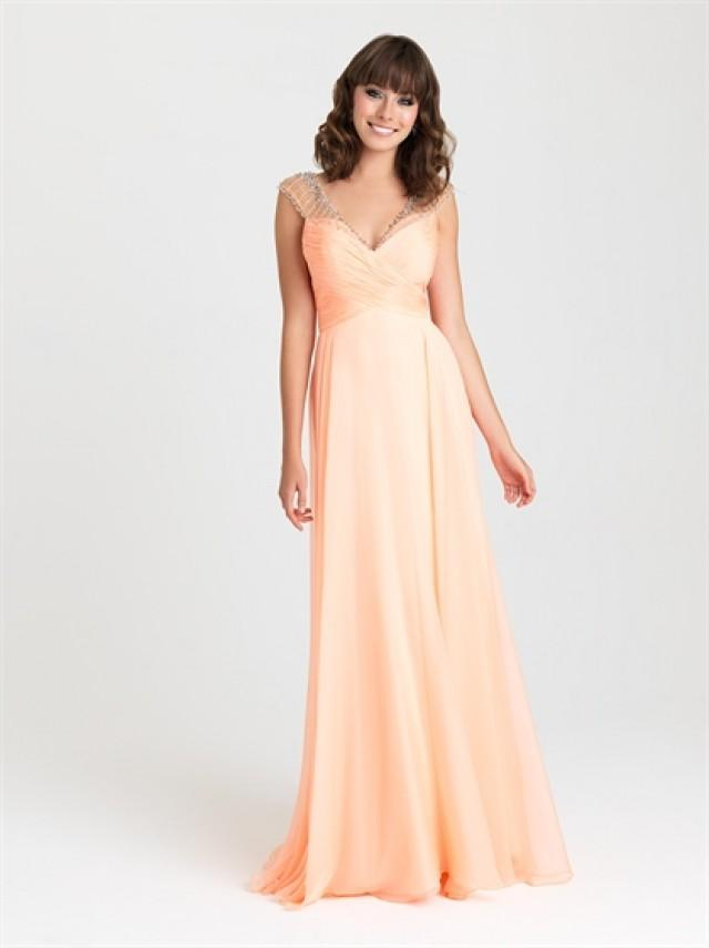 wedding photo - Beaded Cap Sleeves Ruched Bodice Chiffon Prom Dress PD3210