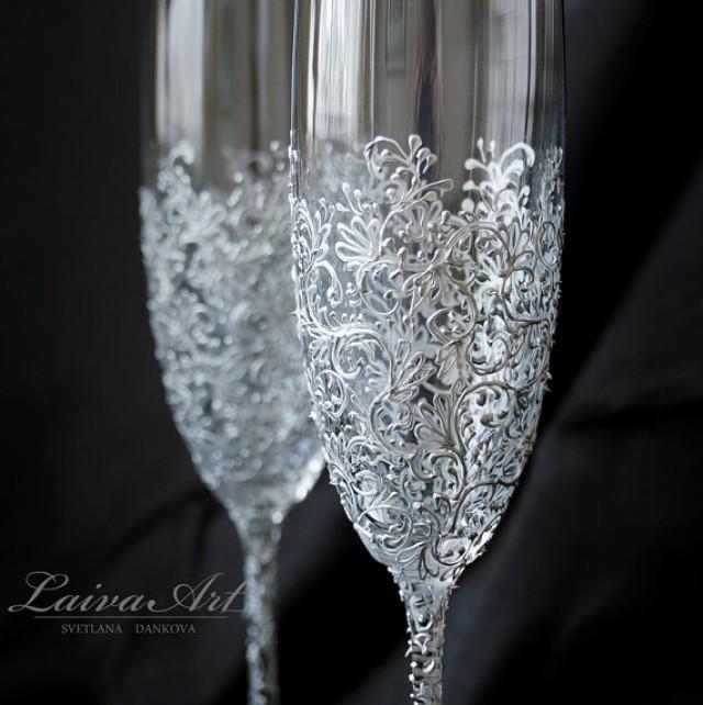 wedding photo - Silver Wedding Champagne Flutes Wedding Champagne Glasses Wedding Toasting Flutes Silver Wedding Gatsby Wedding