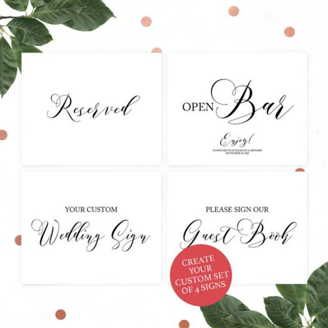 wedding photo - Custom Unique Wedding Sign Set-Set of 4 Wedding Sign-Instagram Sign-Guestbook Sign-Cocktails Sign-Bar Signs-Custom Wedding Sign-Calligraphy