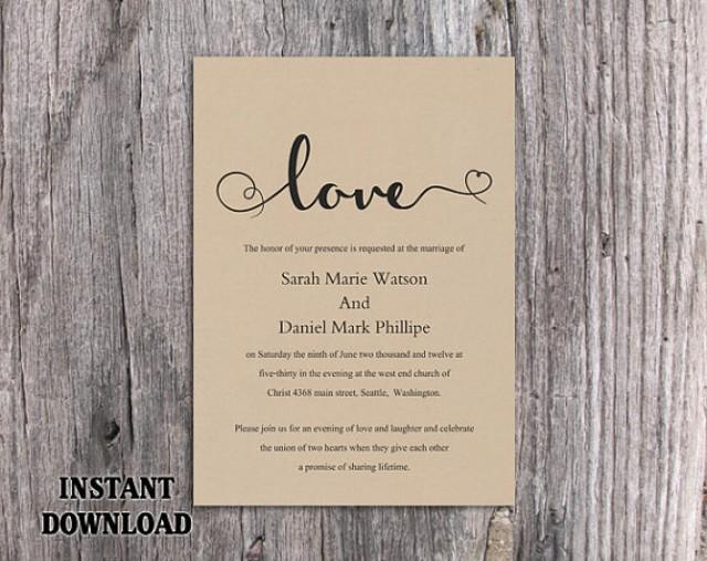 Diy Burlap Wedding Invitation Template Editable Word File