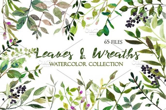 wedding photo - Watercolor Leaves and Wreaths Set