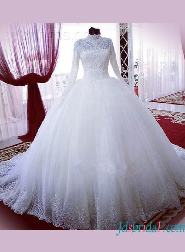 Modest high neck long sleeves lace ball gown wedding dress for Modest wedding dresses with long sleeves