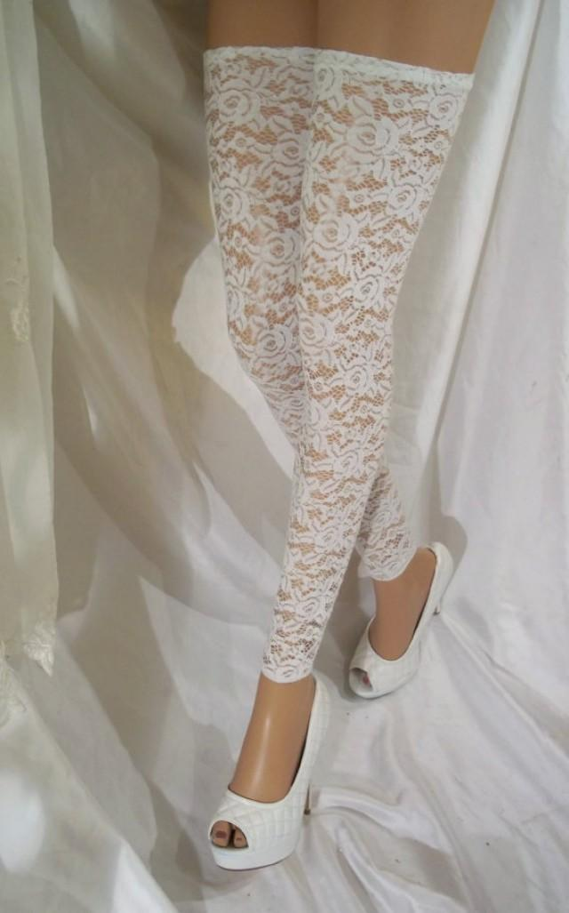 wedding photo - White Lace Leg Warmers, White Lace Thigh Highs, White Lace Tights, White Lingerie Hosiery, White Lace Hosiery, Bridal Hosiery, Sexy Leg Wear