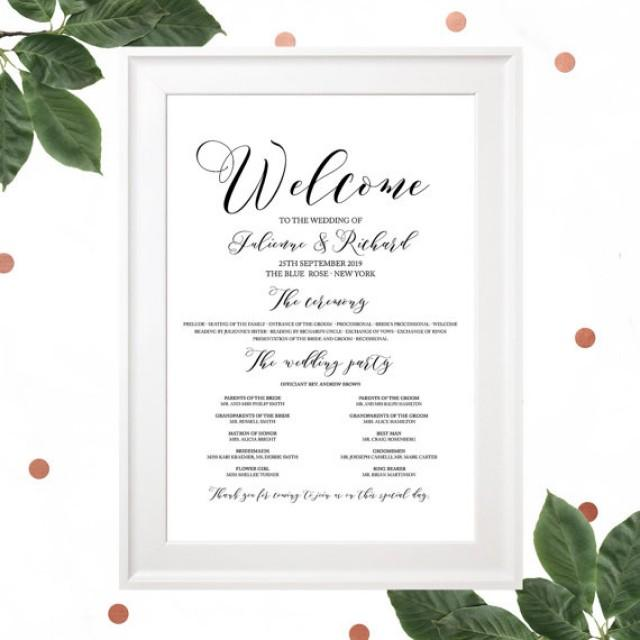 wedding photo - Wedding Program Poster-Calligraphy Style Wedding Program-Navy Blue Wedding Program-Wedding Program Sign-Printable DIY Wedding Program