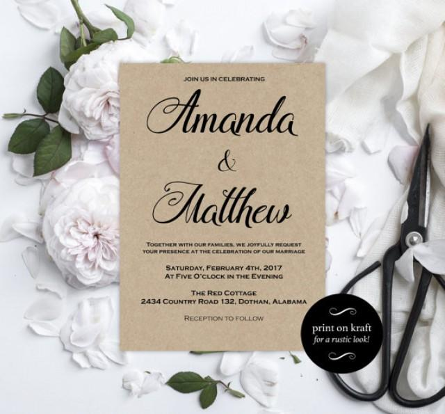 wedding photo - Printable Wedding Invitations - Kraft Wedding Invitation - Editable Wedding Invitation - Editable Text - Downloadable Wedding