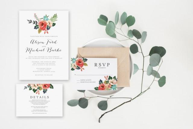 Wedding invitation set watercolor floral invitation for Minimalist floral wedding invitations