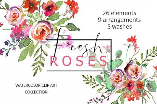 wedding photo - Spring Watercolor Florals Clipart