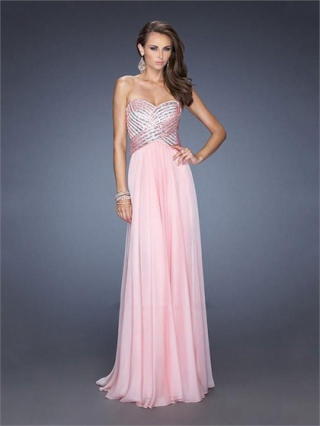 wedding photo - Sweetheart Ruched Bodice Empire Sequins Crisscross Back Chiffon Prom Dress PD2487
